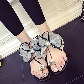 Women's Sandals Flat Sandal 2020 Spring  Summer Flat Heel Open Toe Casual Minimalism Daily Bowknot / Sparkling Glitter PU Walking Shoes Black / Gray
