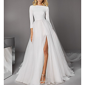 A-Line Wedding Dresses Jewel Neck Court Train Satin Tulle 3/4 Length Sleeve Casual Modern with Split Front 2020