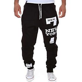 Men's Basic Slim Chinos Pants Print Drawstring Black US38 / UK38 / EU46 US42 / UK42 / EU50 US44 / UK44 / EU52