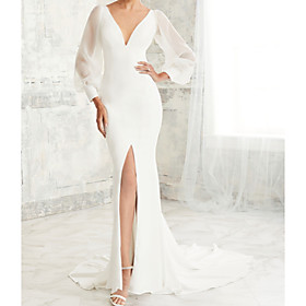 Mermaid / Trumpet Wedding Dresses V Neck Court Train Tulle Stretch Satin Long Sleeve Simple Illusion Sleeve with Split Front 2020 / Puff / Balloon Sleeve