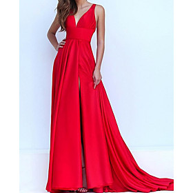A-Line Elegant Red Engagement Formal Evening Dress V Neck Sleeveless Sweep / Brush Train Satin with Pleats Split 2020