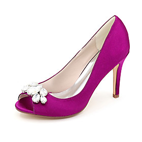 Women's Wedding Shoes Spring / Summer Stiletto Heel Peep Toe Minimalism Wedding Party  Evening Rhinestone Solid Colored Satin White / Black / Purple