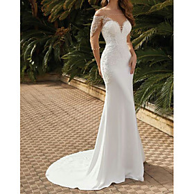 Mermaid / Trumpet Wedding Dresses Square Neck Sweep / Brush Train Lace Satin Tulle Half Sleeve Sexy See-Through with Pearls Embroidery 2020