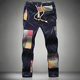 Men's Basic Slim Chinos Pants Print Drawstring White Black Brown US32 / UK32 / EU40 US34 / UK34 / EU42 US36 / UK36 / EU44