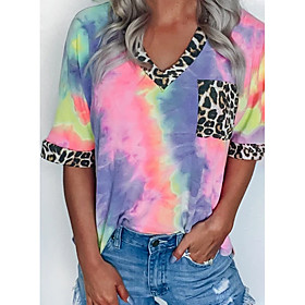 Women's T-shirt Leopard Tie Dye Cheetah Print Patchwork Print V Neck Tops Basic Top Purple