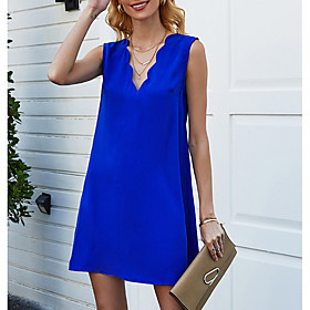 Women's Mini Shift Dress - Sleeveless Solid Color Summer V Neck Elegant 2020 Blue S M L XL