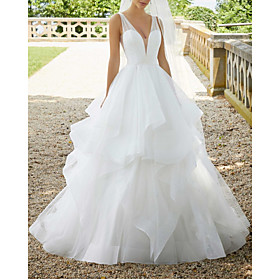 Ball Gown Wedding Dresses V Neck Sweep / Brush Train Organza Sequined Sleeveless Sexy See-Through with Cascading Ruffles 2020