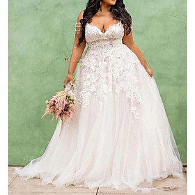 A-Line Wedding Dresses V Neck Spaghetti Strap Sweep / Brush Train Lace Tulle Sleeveless Country Plus Size with Embroidery 2020