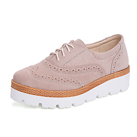 Women's Oxfords Fall / Spring  Summer Low Heel Round Toe Sweet Minimalism Daily Outdoor Galaxy Solid Colored Cowhide Walking Shoes Blue / Silver / Beige
