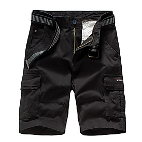 Men's Hiking Shorts Hiking Cargo Shorts Summer Outdoor Breathable Quick Dry Sweat-wicking Comfortable Cotton Shorts Bottoms Hunting Fishing Climbing Black Army