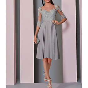 A-Line Elegant Grey Party Wear Cocktail Party Dress Illusion Neck Half Sleeve Knee Length Chiffon with Pleats Lace Insert 2020