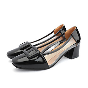 Women's Heels Spring   Fall / Spring  Summer Block Heel Square Toe Casual Daily PU Pink / White / Black
