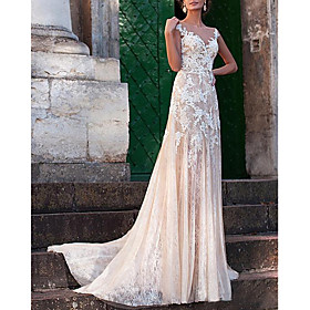 A-Line Wedding Dresses Jewel Neck Sweep / Brush Train Lace Tulle Cap Sleeve Sexy See-Through Backless with Embroidery Appliques 2020