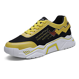 Men's Summer Sporty Athletic Trainers / Athletic Shoes Running Shoes Mesh / PU Non-slipping Black and White / Yellow / Beige