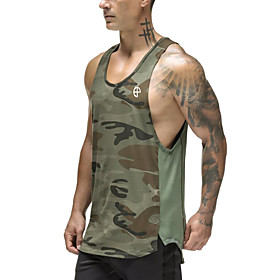 Men's Cotton Running Tank Top Workout Tops Singlet Active Training Fitness Jogging Breathable Quick Dry Soft Sportswear Camo / Camouflage Top Sleeveless Active