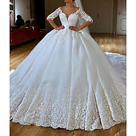 Ball Gown Wedding Dresses V Neck Chapel Train Lace Chiffon Over Satin Half Sleeve Formal Sexy with Embroidery Appliques 2020