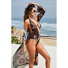 Women's Basic One-piece Swimsuit Backless Tribal Plunging Neck Swimwear Bathing Suits Brown