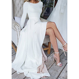 A-Line Wedding Dresses Jewel Neck Sweep / Brush Train Chiffon Over Satin Long Sleeve Simple Modern with Split Front 2020