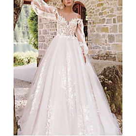 A-Line Wedding Dresses Jewel Neck Floor Length Lace Tulle Long Sleeve Formal See-Through with Embroidery Appliques 2020