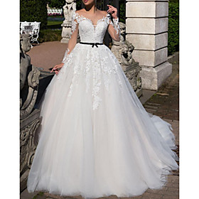 A-Line Wedding Dresses Off Shoulder Tea Length Tulle Short Sleeve Vintage Sexy Wedding Dress in Color See-Through with Sashes / Ribbons Embroidery Appliques 20