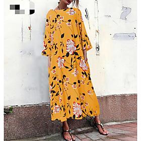 Women's Mini Shift Dress - 3/4 Length Sleeve Animal Summer Elegant 2020 Black Yellow S M L XL XXL XXXL XXXXL XXXXXL