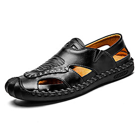 Men's Fall Casual Daily Outdoor Sandals Leather Breathable Non-slipping Shock Absorbing Light Brown / Black / Burgundy Color Block