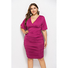 Women's Wrap Dress Midi Dress - Half Sleeve Solid Color Ruched Summer V Neck Plus Size Formal Elegant Going out Flare Cuff Sleeve 2020 Black Fuchsia Green Roya