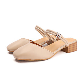 Women's Clogs  Mules Spring   Fall / Spring  Summer Chunky Heel Round Toe Casual Daily PU Camel / White / Black