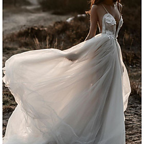 A-Line Wedding Dresses Spaghetti Strap Plunging Neck Sweep / Brush Train Lace Tulle Sleeveless Beach Sexy See-Through with Pleats Appliques 2020