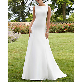 A-Line Wedding Dresses Jewel Neck Court Train Lace Satin Sleeveless Simple Sexy with 2020