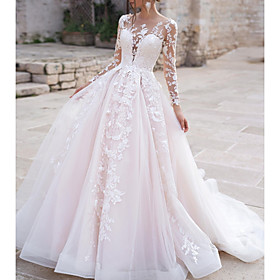 Ball Gown A-Line Wedding Dresses Jewel Neck Sweep / Brush Train Lace Tulle Long Sleeve Formal Sexy See-Through with Embroidery Appliques 2020
