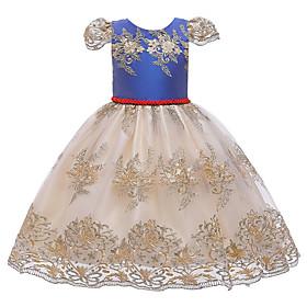 Kids Girls' Active Cute Geometric Bow Print Sleeveless Knee-length Dress Blue