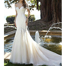 Mermaid / Trumpet Wedding Dresses V Neck Court Train Lace Tulle Short Sleeve Formal with Embroidery 2020