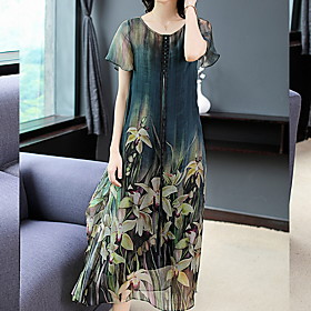 Women's Mini Sheath Dress - Short Sleeves Floral Summer Elegant Slim 2020 Green M L XL XXL XXXL