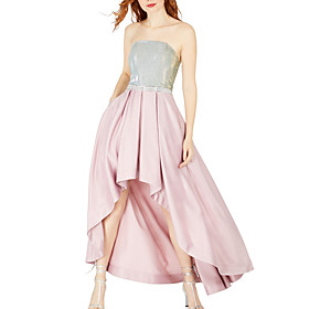 A-Line Color Block Pink Party Wear Cocktail Party Dress Strapless Sleeveless Asymmetrical Satin with Pleats Sequin 2020
