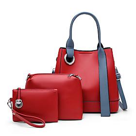 Women's Zipper PU Bag Set Solid Color 3 Pcs Purse Set White / Black / Red