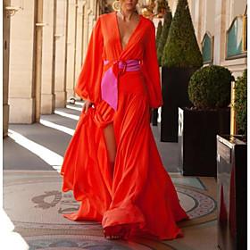 Women's Maxi Sheath Dress - Short Sleeves Solid Color Summer V Neck Elegant Slim 2020 Red M L XL XXL XXXL