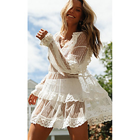Women's Sundress Dress - Long Sleeve Solid Color Summer V Neck Elegant Loose 2020 White S M L XL