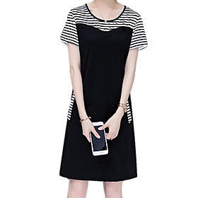 Women's A Line Dress - Short Sleeves Striped Patchwork Summer Fall Casual Holiday Going out Slim 2020 White Black M L XL XXL XXXL