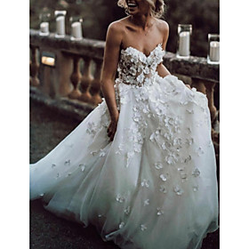 A-Line Wedding Dresses Strapless Sweep / Brush Train Lace Tulle Sleeveless Beach Sexy Backless with Embroidery Appliques 2020