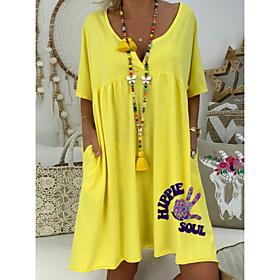 Women's A-Line Dress Knee Length Dress - Short Sleeves Print Summer Elegant 2020 Purple Yellow Orange M L XL XXL XXXL
