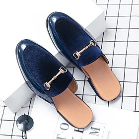 Men's Clogs  Mules Casual Daily Walking Shoes Microfiber Breathable Non-slipping Wear Proof Black / Blue Summer