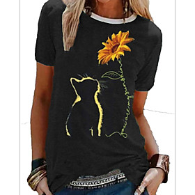 Women's T-shirt Floral Flower Round Neck Tops Basic Top Black Blue Wine