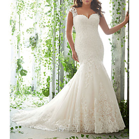 Mermaid / Trumpet Wedding Dresses Sweetheart Neckline Sweep / Brush Train Lace Tulle Sleeveless Romantic with Embroidery 2020