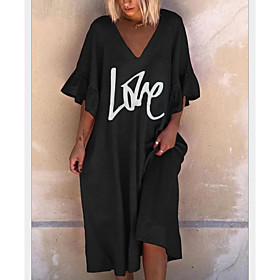 Women's A-Line Dress Midi Dress - Half Sleeve Letter Summer Casual 2020 Black Khaki Gray S M L XL XXL XXXL