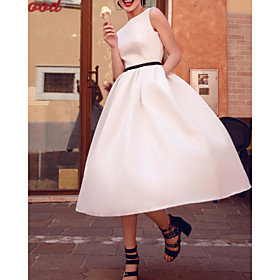 A-Line Wedding Dresses Jewel Neck Tea Length Satin Sleeveless Simple Vintage 1950s with Sashes / Ribbons 2020
