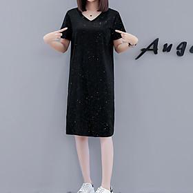 Women's A Line Dress - Short Sleeves Solid Color Sequins Spring Summer V Neck Elegant Street chic Daily Weekend Loose 2020 Black M L XL XXL XXXL XXXXL