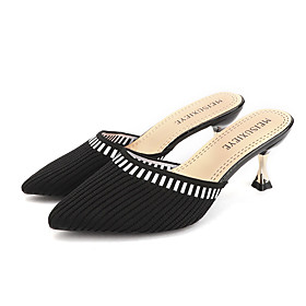 Women's Clogs  Mules Summer Stiletto Heel Pointed Toe Daily Outdoor Tissage Volant Black / Beige