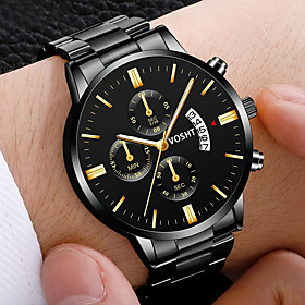 Men's Steel Band Watches Quartz Modern Style Stylish Casual Calendar / date / day Analog Golden / Brown Black / Silver BlackGloden / One Year / Stainless Steel
