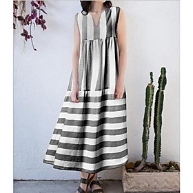 Women's Maxi Shift Dress - Sleeveless Striped Summer V Neck Casual Loose 2020 Black Light Blue S M L XL XXL XXXL
